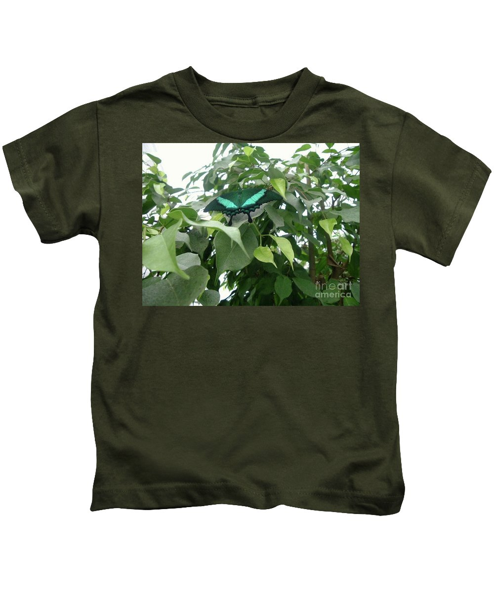 Green Butterfly Kids T-Shirt featuring the photograph Green Banded Butterfly by Barbara Griffin