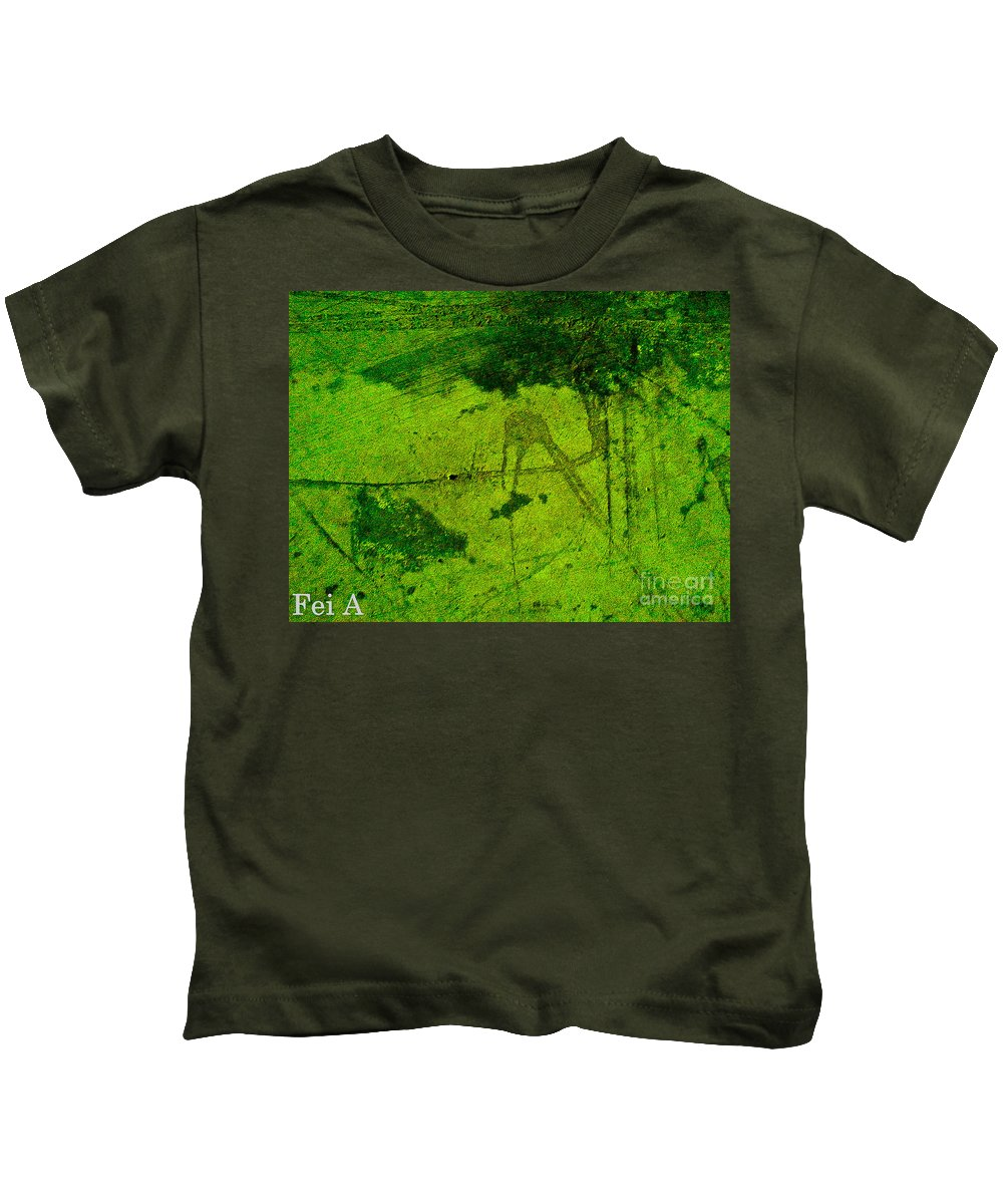 Abstract Kids T-Shirt featuring the digital art Green Color Sigh by Fei A