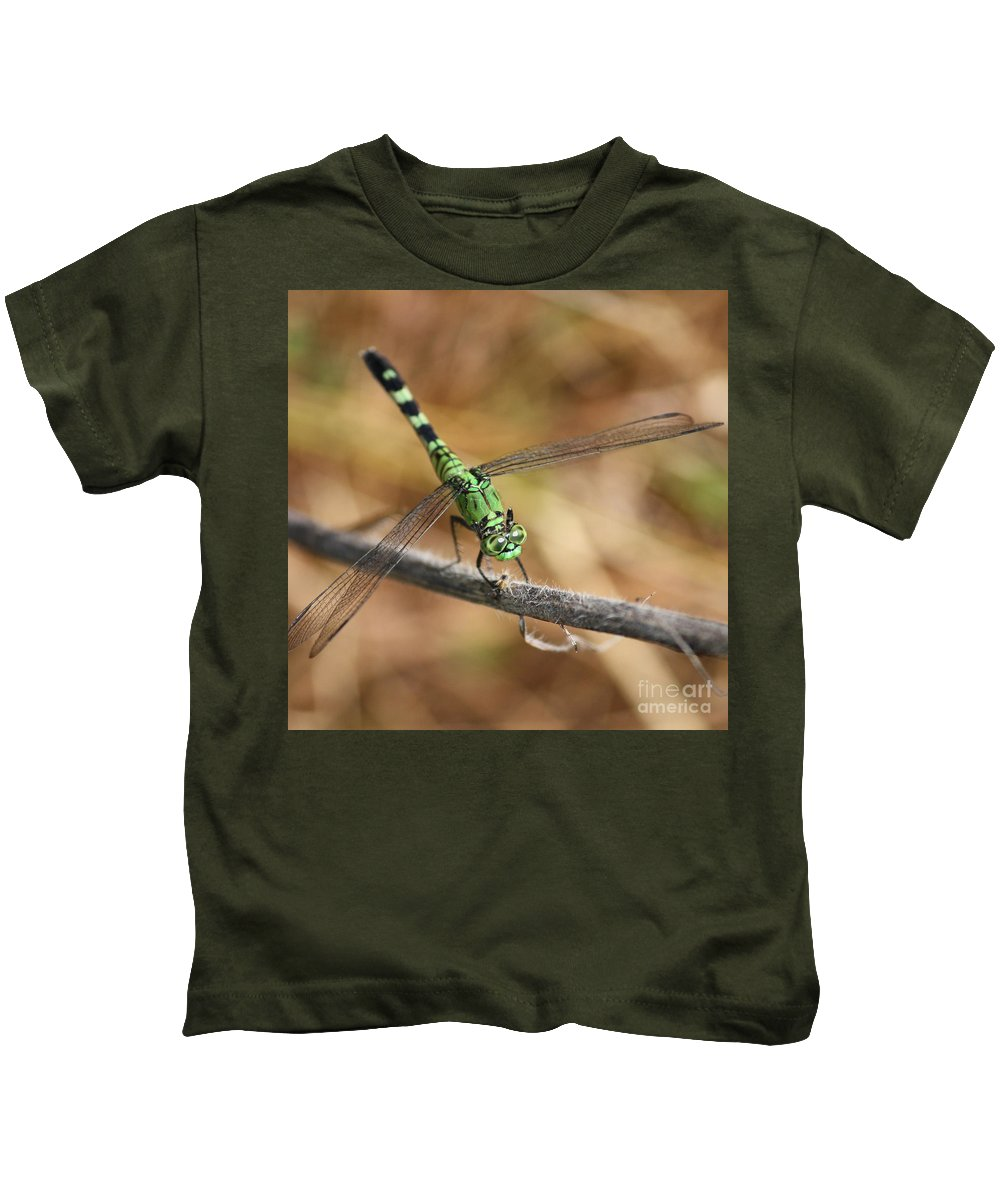 Green Dragonfly Kids T-Shirt featuring the photograph Green Dragonfly Square by Carol Groenen