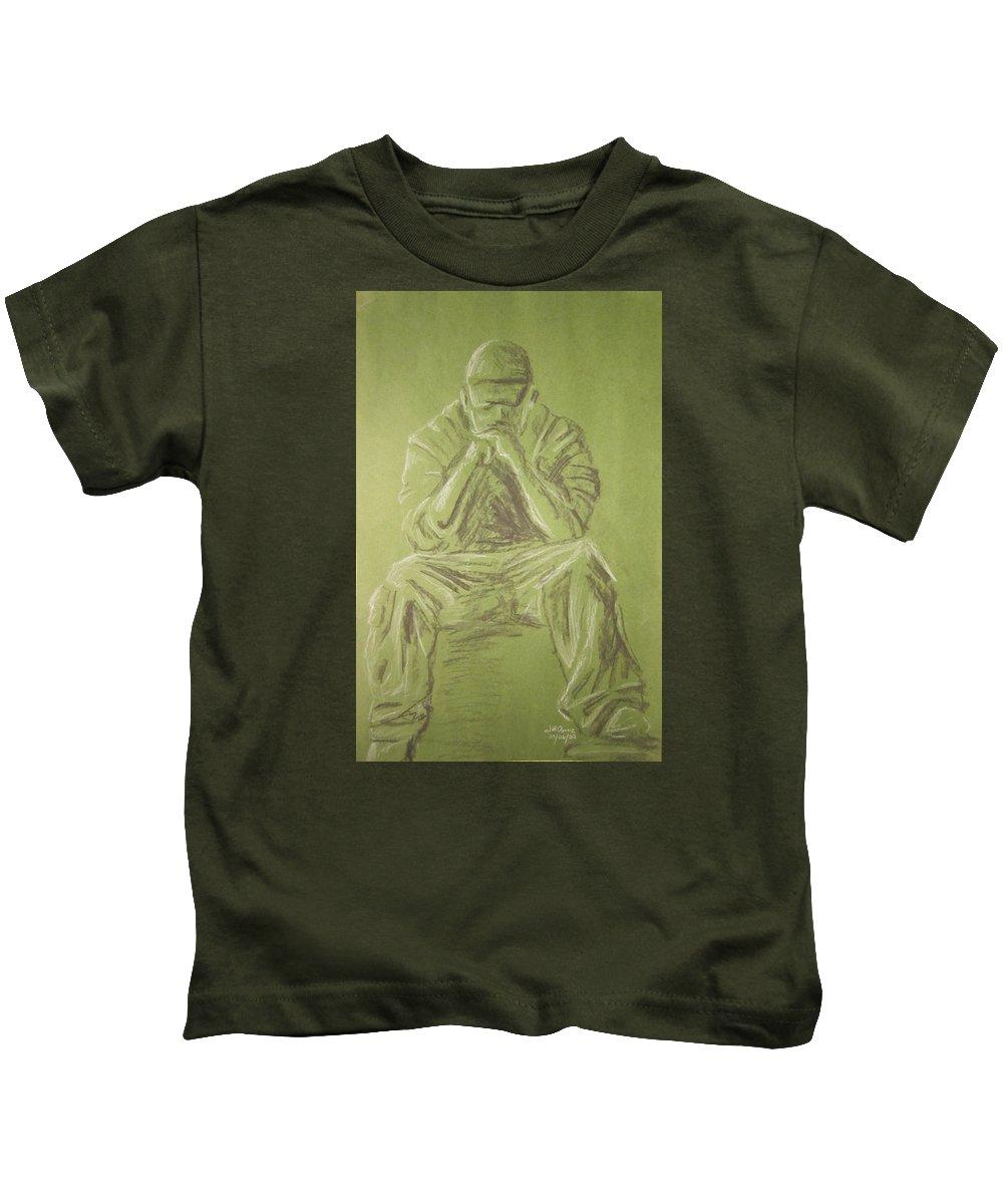 Figure Kids T-Shirt featuring the drawing Green Figure I by Jeffrey Oleniacz