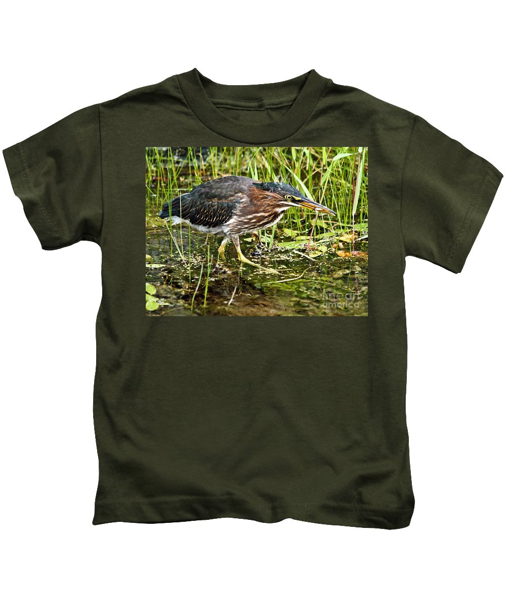 Green Heron Kids T-Shirt featuring the photograph Green Heron And Catch by Cheryl Baxter