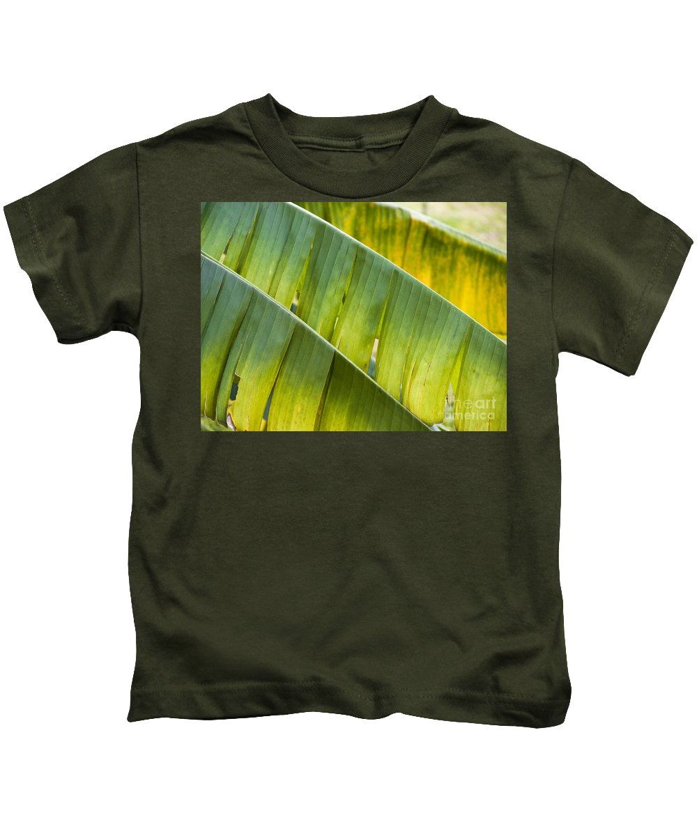 Heiko Kids T-Shirt featuring the photograph Green Leaves Series 14 by Heiko Koehrer-Wagner