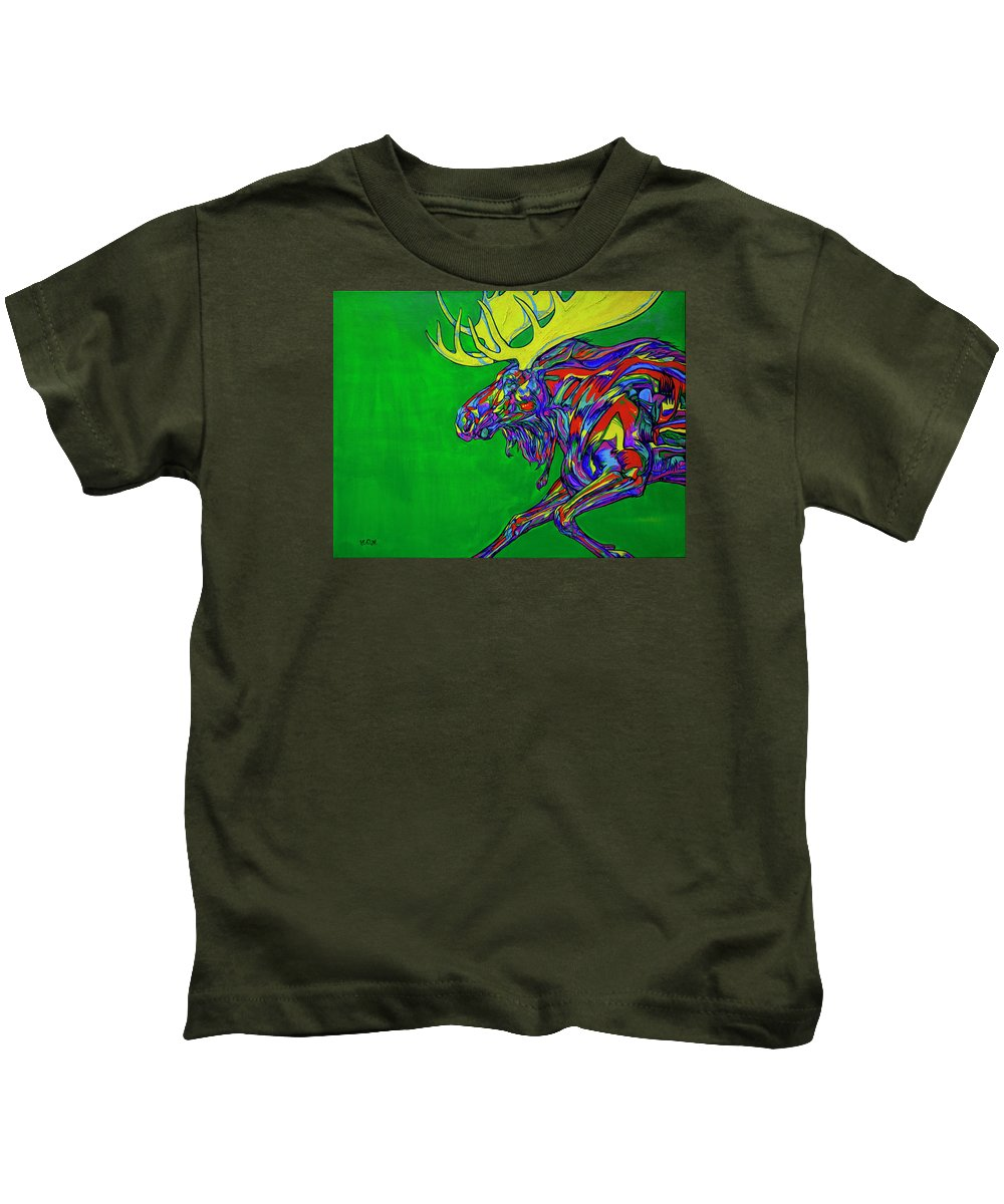 Contemporary Art Kids T-Shirt featuring the painting Green Mega Moose by Derrick Higgins