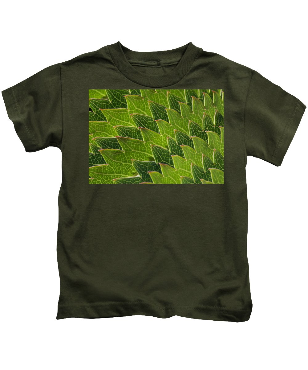 Plant.plants Kids T-Shirt featuring the photograph Green Scales Of A Dragon by Robert Woodward
