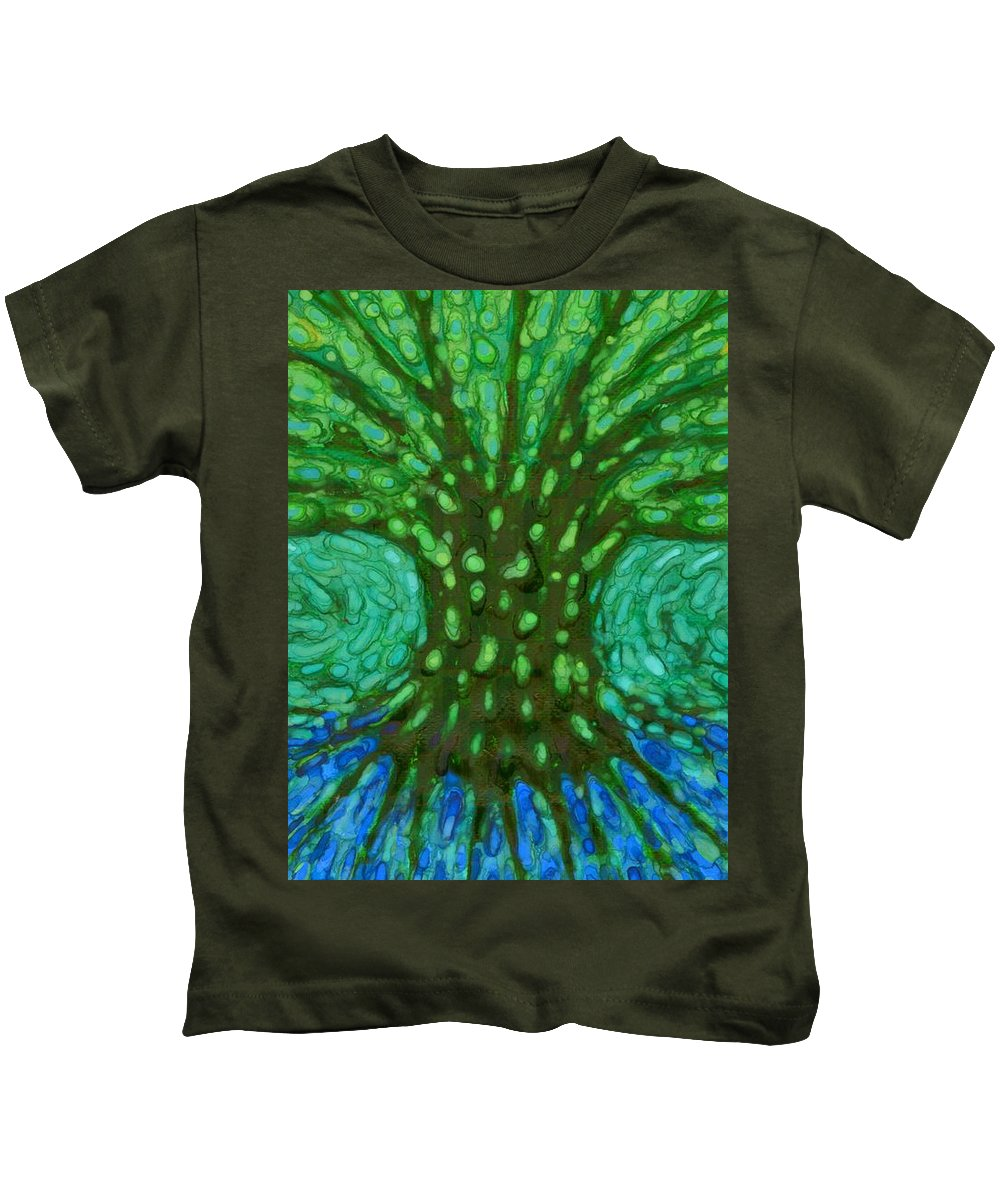 Colour Kids T-Shirt featuring the painting Green Tree by Wojtek Kowalski