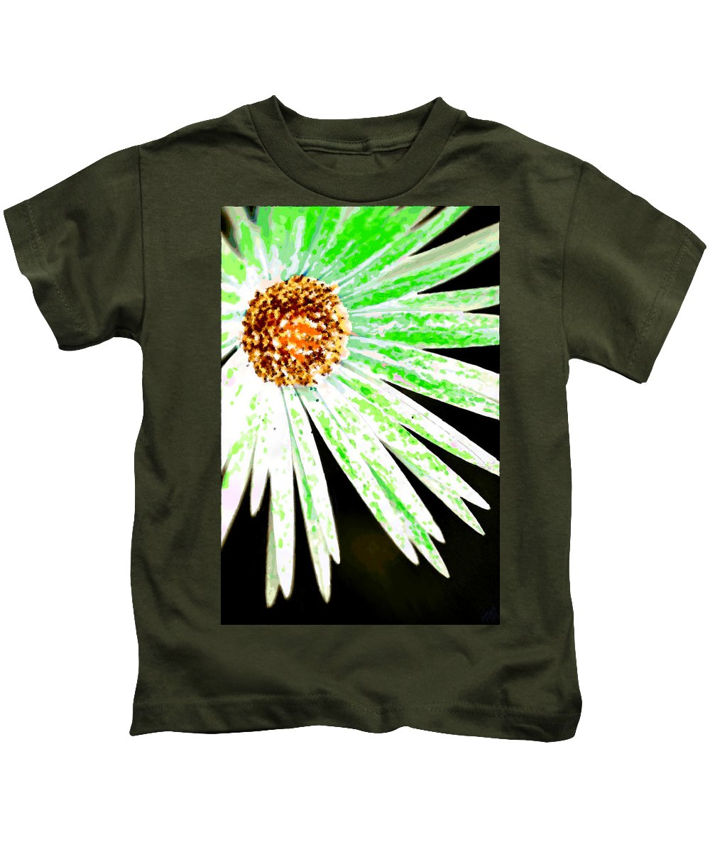Flower Kids T-Shirt featuring the painting Green Vexel Flower by Bruce Nutting