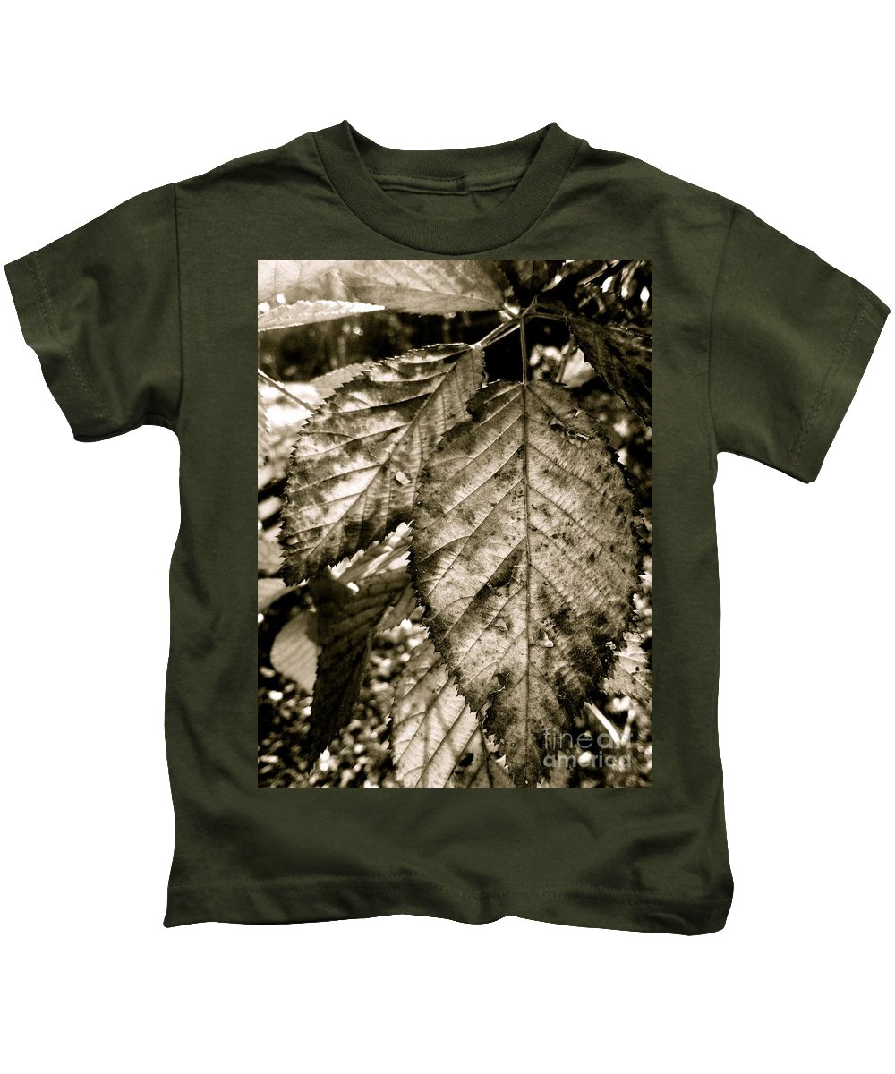 Leaves Kids T-Shirt featuring the photograph Gritty Grin by Trish Hale