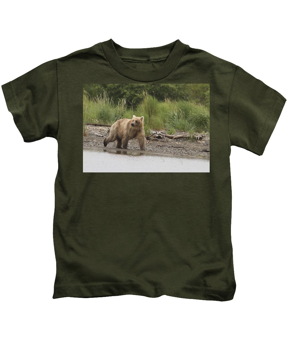 Alaska Kids T-Shirt featuring the photograph Grizzly by Dee Carpenter