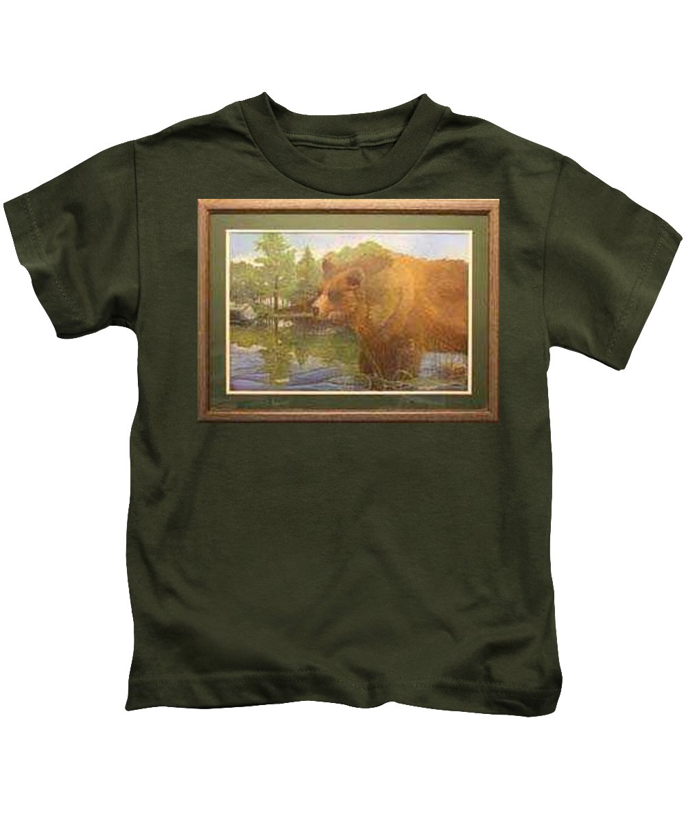 Rick Huotari Kids T-Shirt featuring the painting Grizzly by Rick Huotari