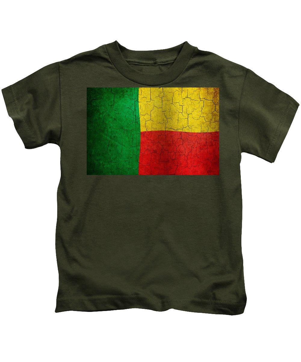 Aged Kids T-Shirt featuring the digital art Grunge Benin Flag by Steve Ball