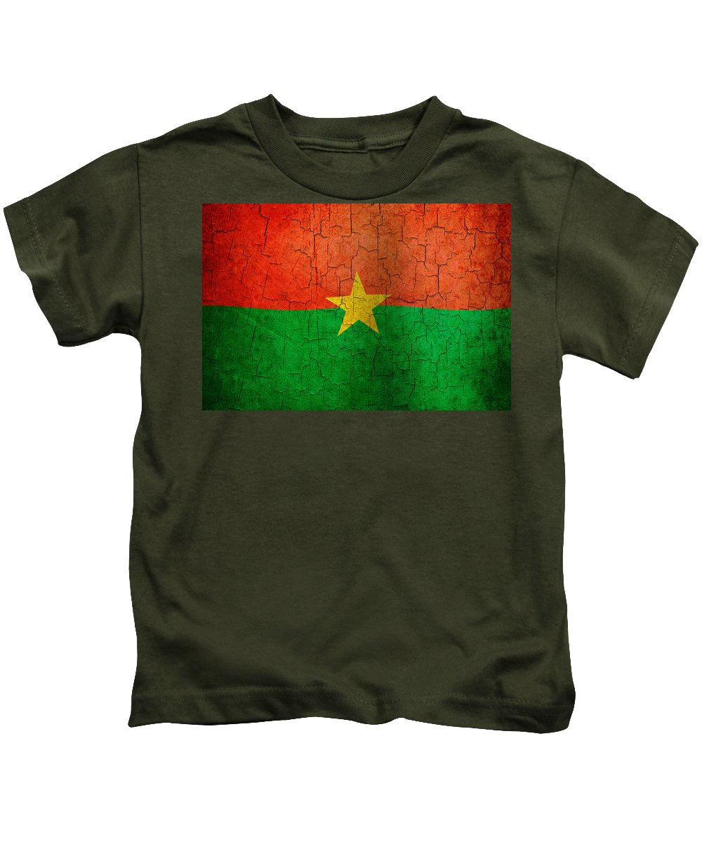 Aged Kids T-Shirt featuring the digital art Grunge Burkina Faso Flag by Steve Ball