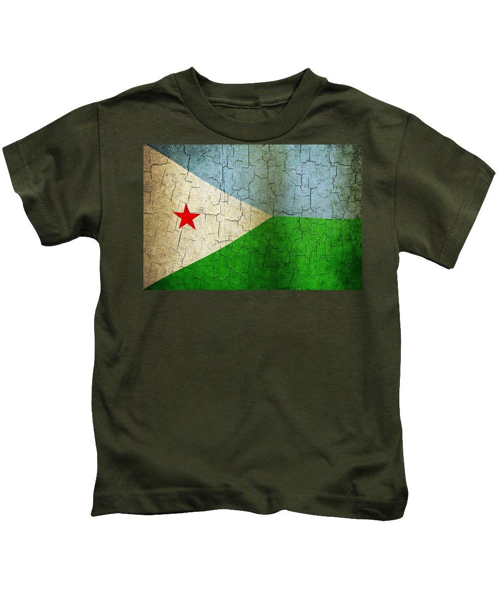 Aged Kids T-Shirt featuring the digital art Grunge Djibouti Flag by Steve Ball