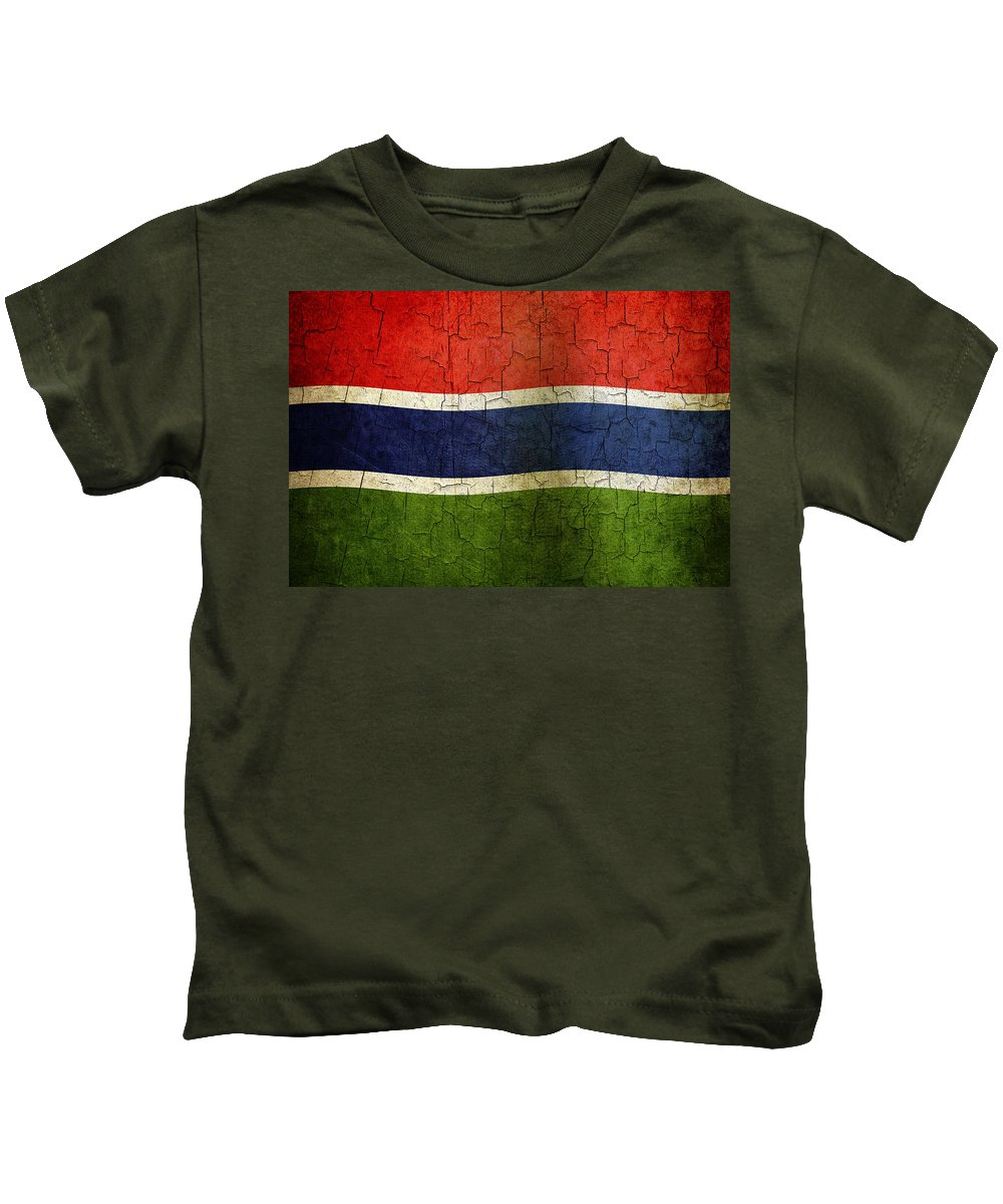 Aged Kids T-Shirt featuring the digital art Grunge Gambia Flag by Steve Ball