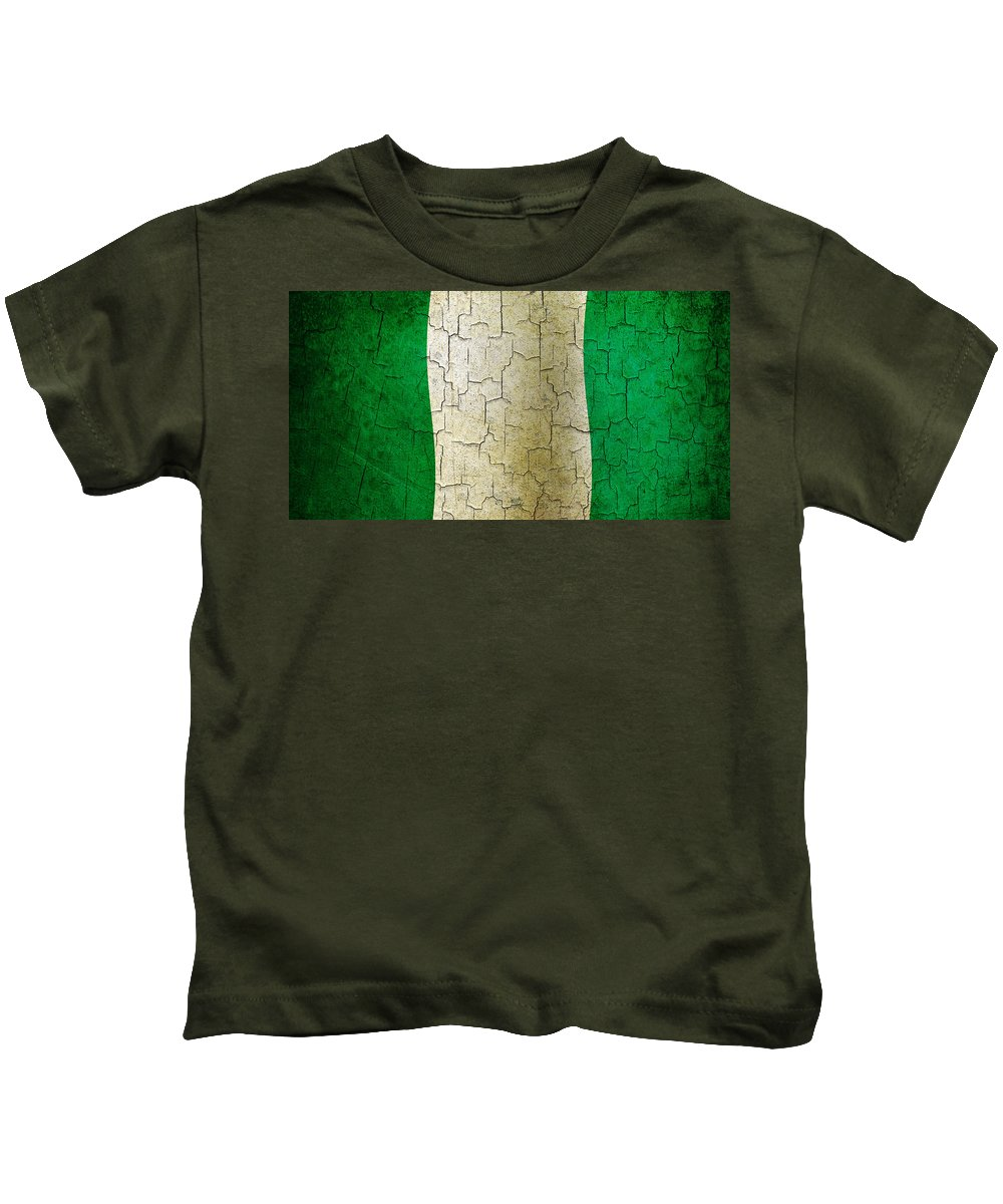 Aged Kids T-Shirt featuring the digital art Grunge Nigeria Flag by Steve Ball
