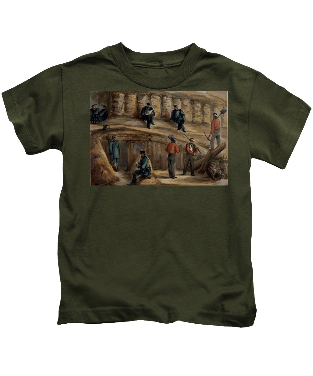 Trench Warfare Kids T-Shirt featuring the drawing Gunners Of The Royal Regiment by Lt. Henry James Alderson