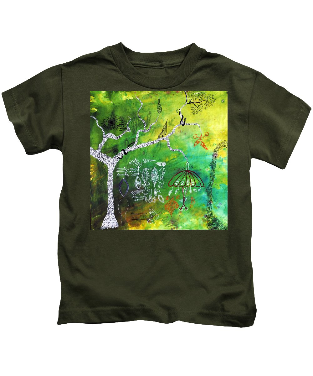 Tree Kids T-Shirt featuring the painting Habitat by Sumit Mehndiratta