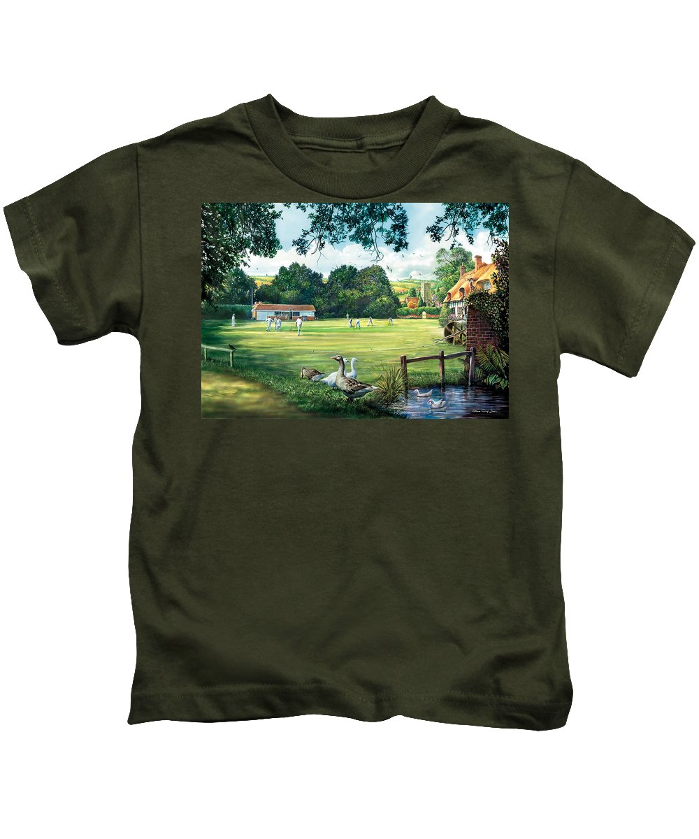 Steve Crisp Kids T-Shirt featuring the photograph Hadlow Cricket Club by Steve Crisp