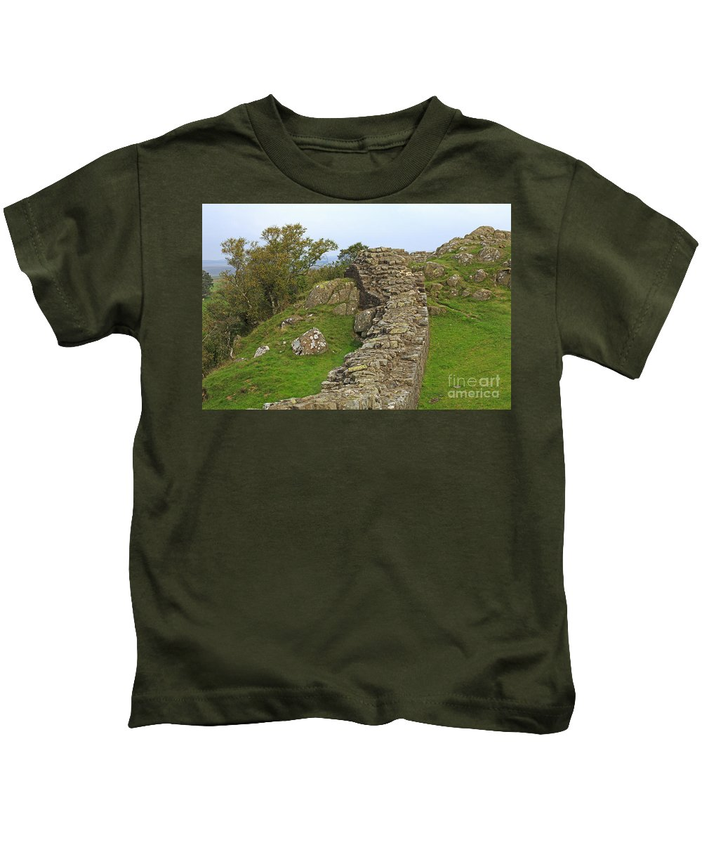 Hadrian's Wall Kids T-Shirt featuring the photograph Hadrian's Wall Near Walltown Quarry by Louise Heusinkveld