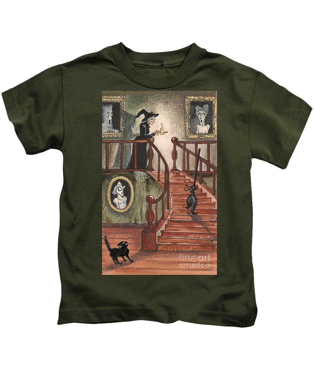 Halloween Kids T-Shirt featuring the painting Halloween Witch by Margaryta Yermolayeva