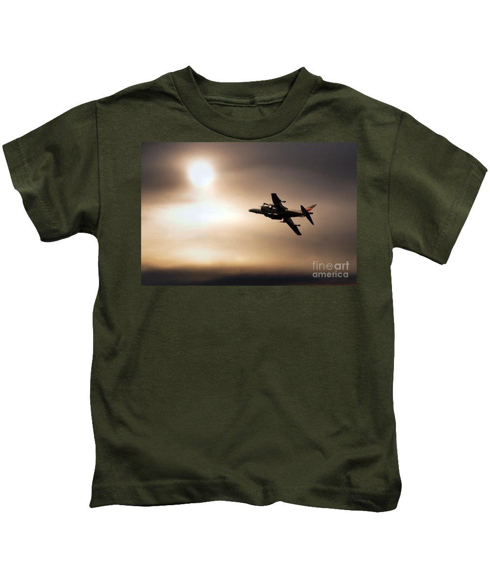Harrier Kids T-Shirt featuring the digital art Harrier Sunset by J Biggadike