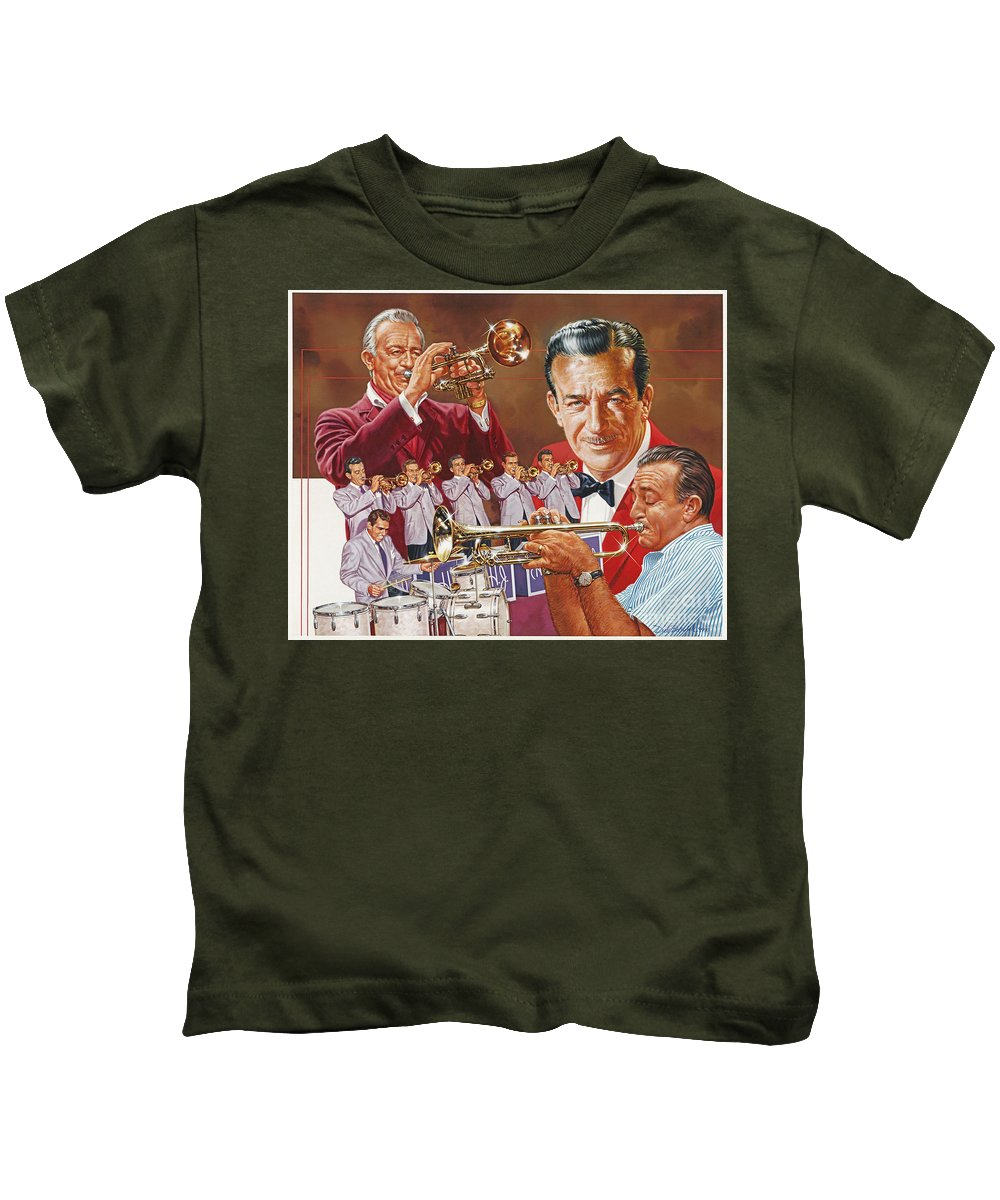 Portrait Kids T-Shirt featuring the painting Harry James Trumpet Giant by Dick Bobnick