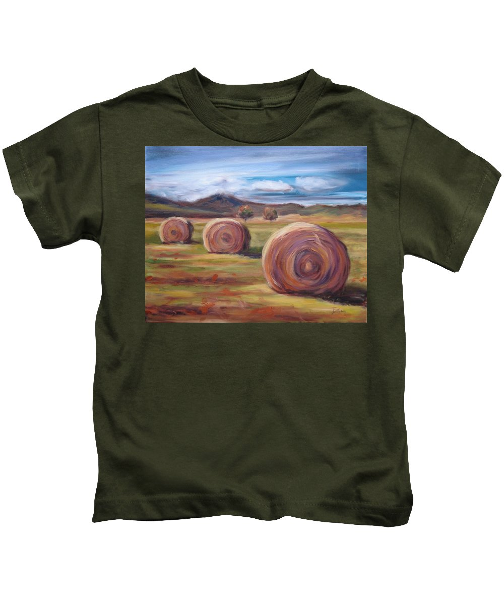 Virginia Kids T-Shirt featuring the painting Hay Harvest by Donna Tuten