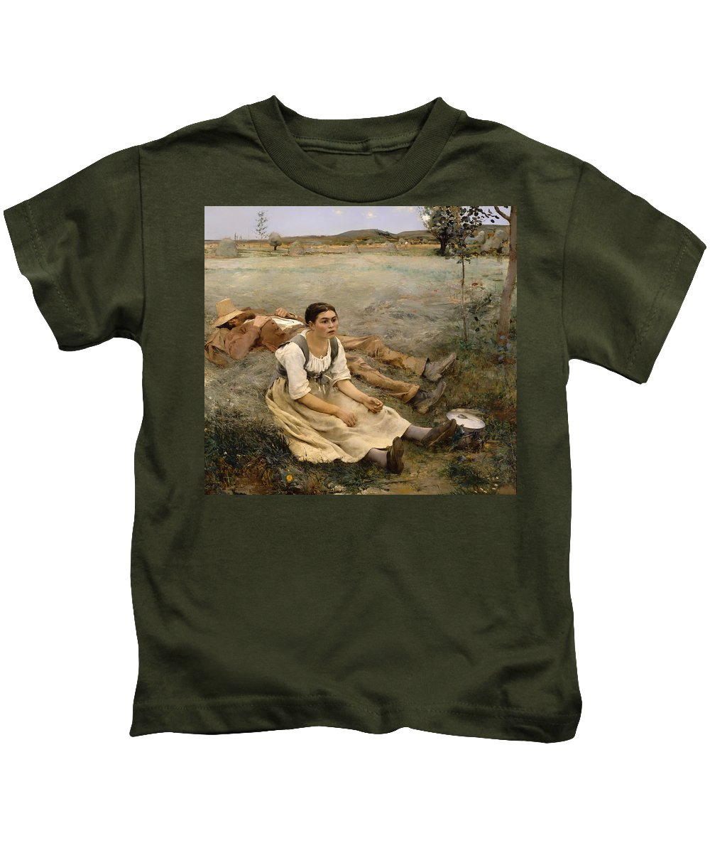 Hay Kids T-Shirt featuring the painting Haymaking by Mountain Dreams