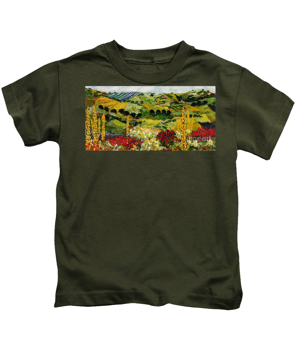Landscape Kids T-Shirt featuring the painting Heavenly View by Allan P Friedlander