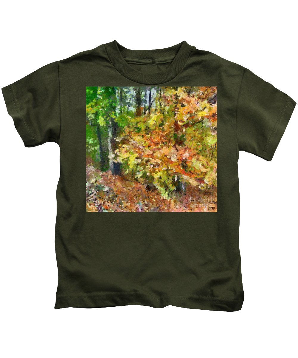 Landscape Kids T-Shirt featuring the painting Here Grow Mushrooms by Dragica Micki Fortuna