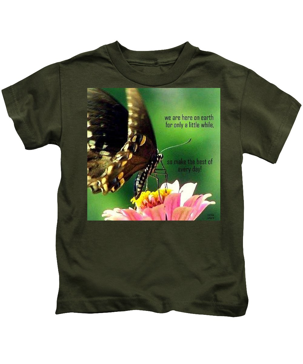 Butterfly Kids T-Shirt featuring the photograph Here Only A Little While by Cynthia Amaral