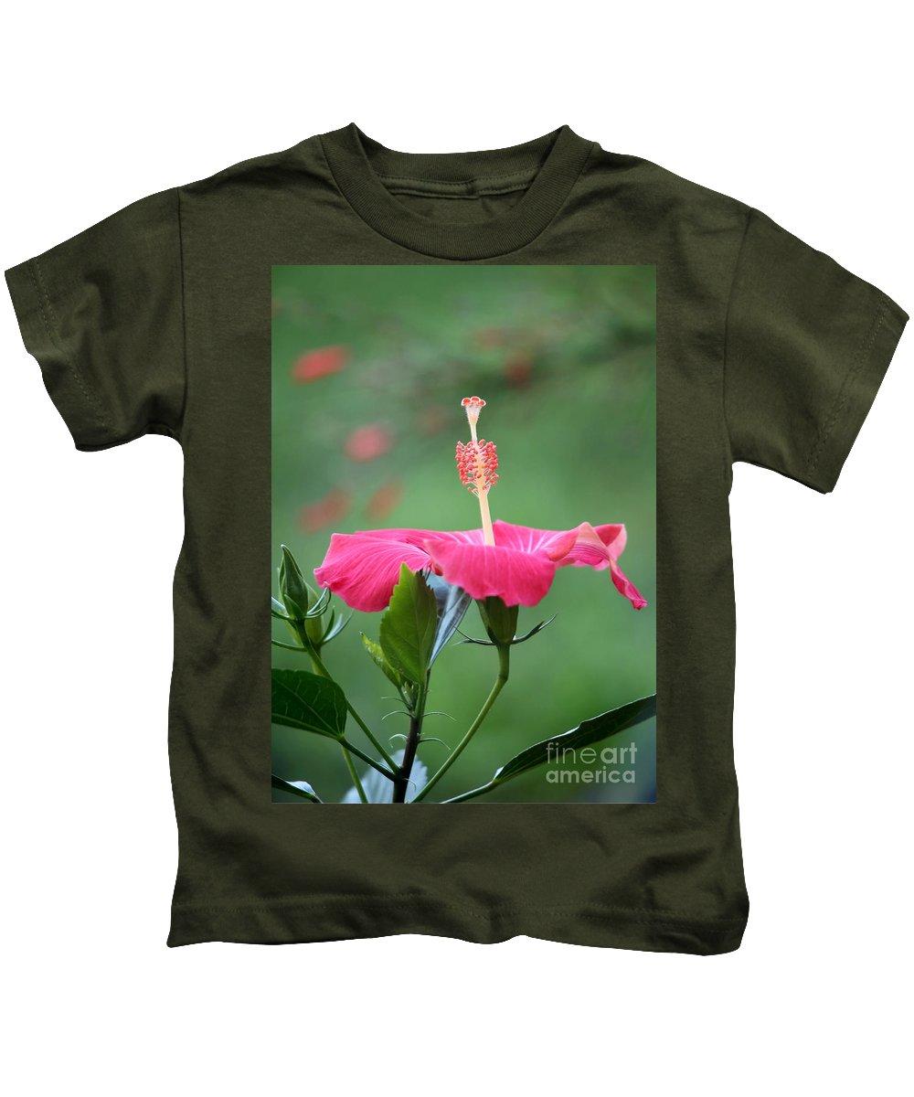 Macro Kids T-Shirt featuring the photograph Hibiscus Ballerina by Sabrina L Ryan