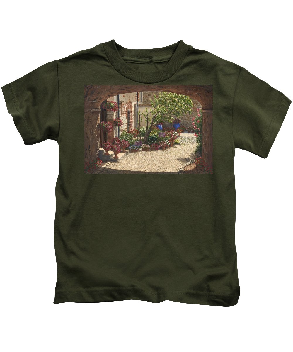 Landscape Kids T-Shirt featuring the painting Hidden Garden Villa Di Camigliano Tuscany by Richard Harpum