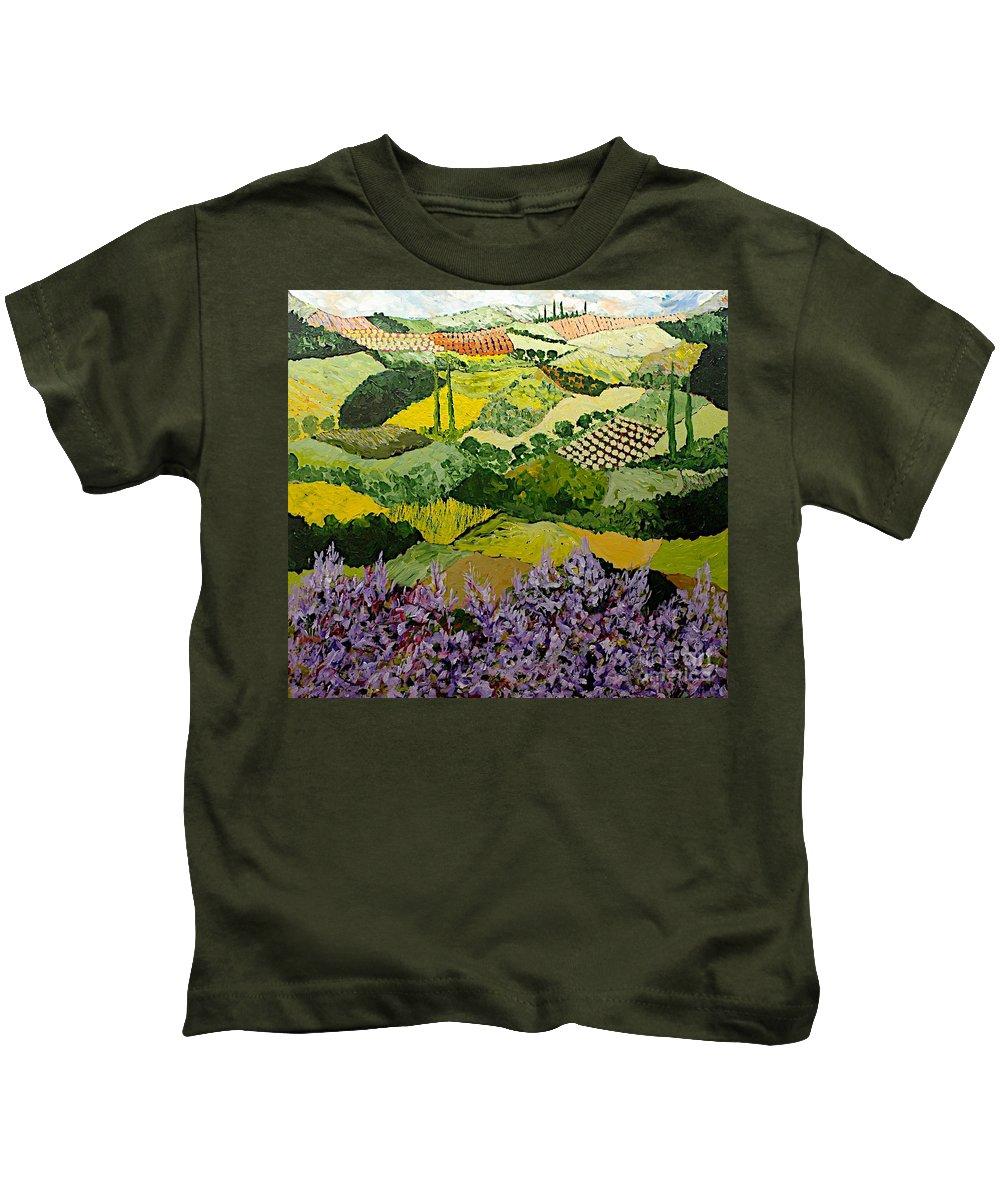 Landscape Kids T-Shirt featuring the painting High Ridge by Allan P Friedlander