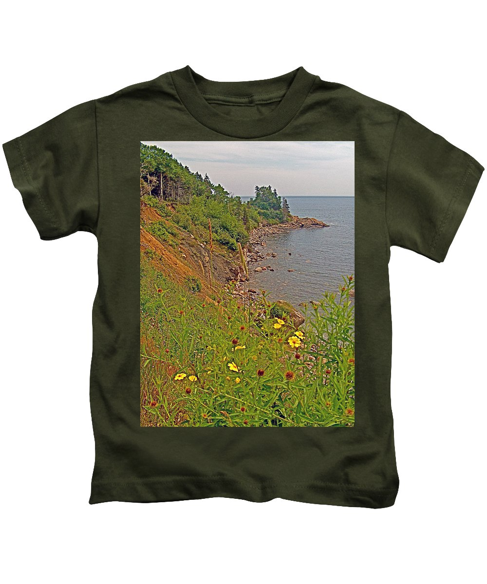 Highlands Coastline In Cape Breton Highlands Np Kids T-Shirt featuring the photograph Highlands Coastline In Cape Breton Highlands Np-ns by Ruth Hager