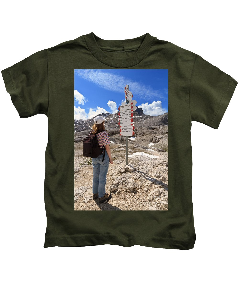 Alpine Kids T-Shirt featuring the photograph Hiker And Directions by Antonio Scarpi