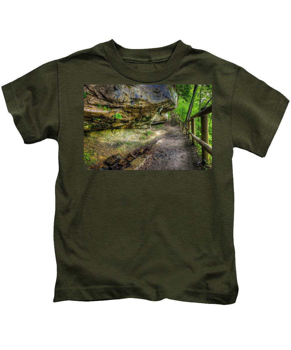 Trail Kids T-Shirt featuring the photograph Hiking Trail by Alexey Stiop
