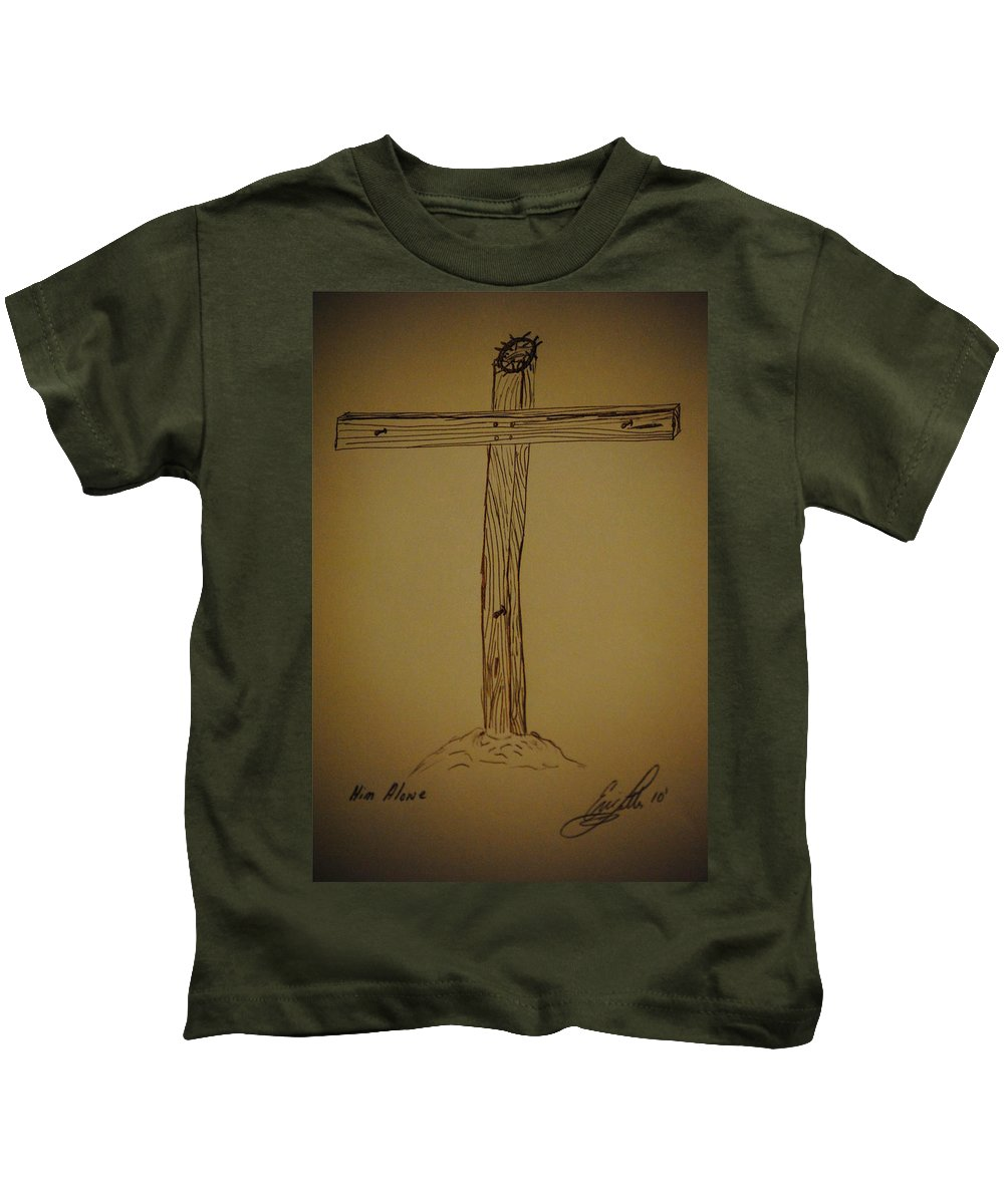 Cross Kids T-Shirt featuring the drawing Him Alone by Eric Liller