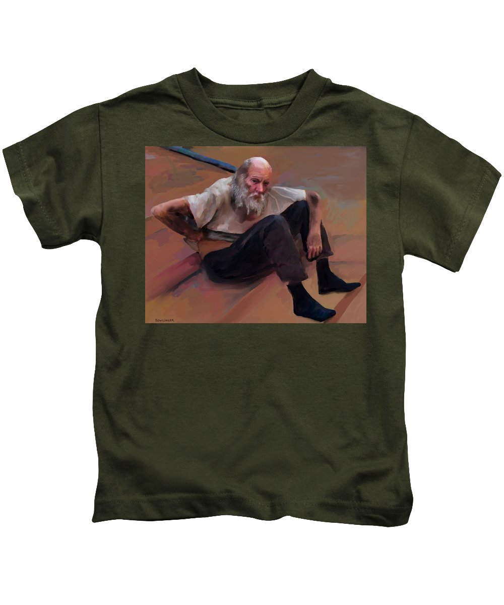 Figure Kids T-Shirt featuring the painting Homeless 3 - A Place To Rest by Scott Bowlinger