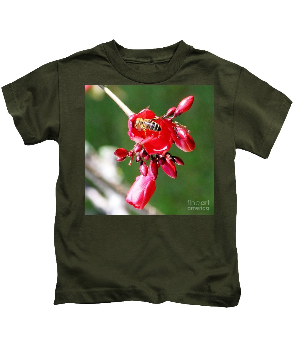 Red Kids T-Shirt featuring the photograph Honey Bee At Work by Mary Deal
