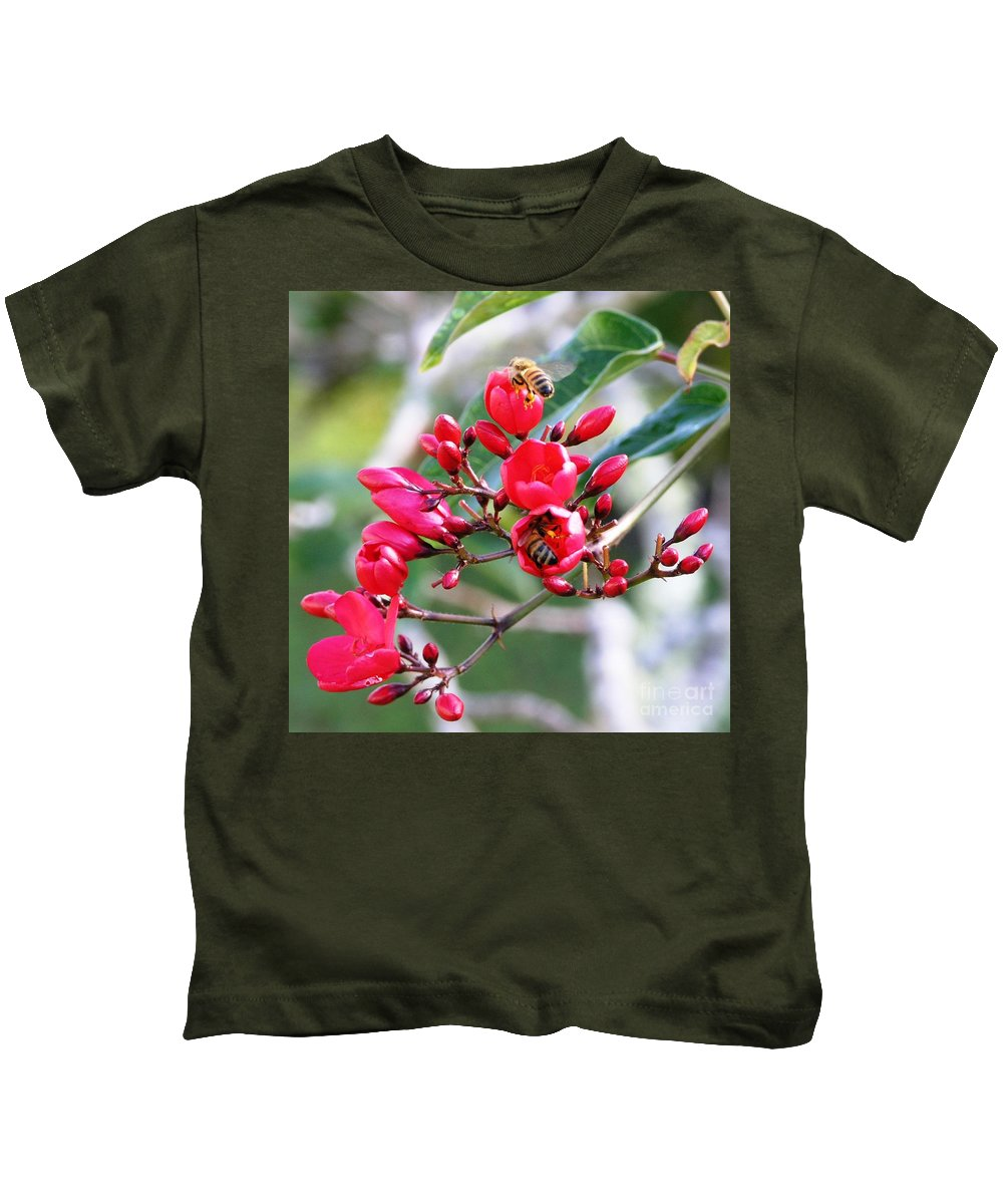 Red Kids T-Shirt featuring the photograph Honey Bee Working by Mary Deal