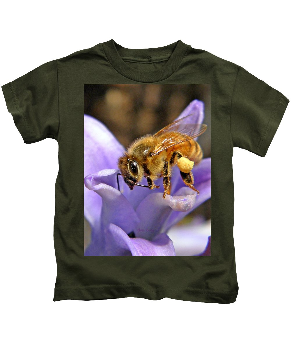 Insect Kids T-Shirt featuring the photograph Honeybee On Hyacinth by Chris Berry