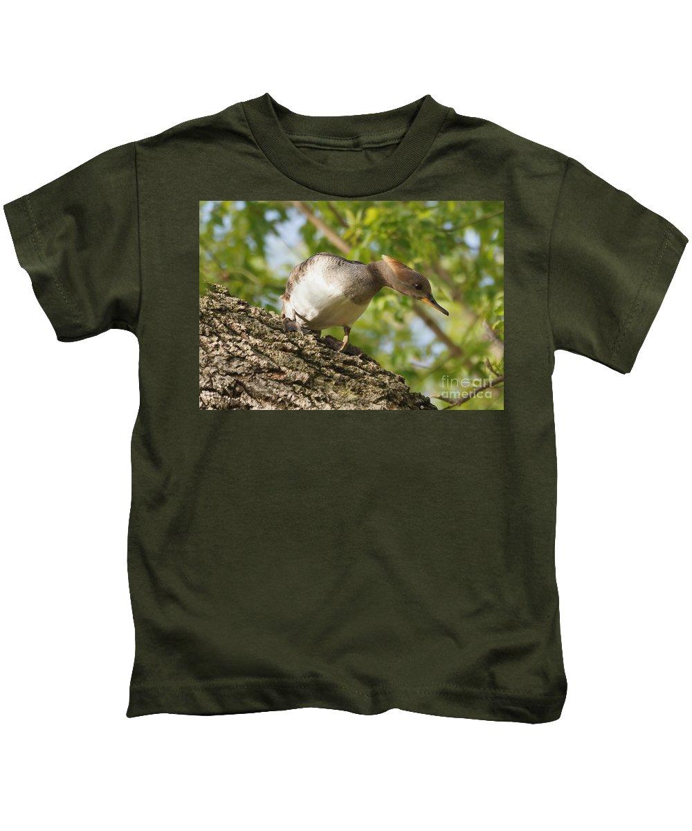 Merganser Kids T-Shirt featuring the photograph Hooded Merganser Listening by Lori Tordsen