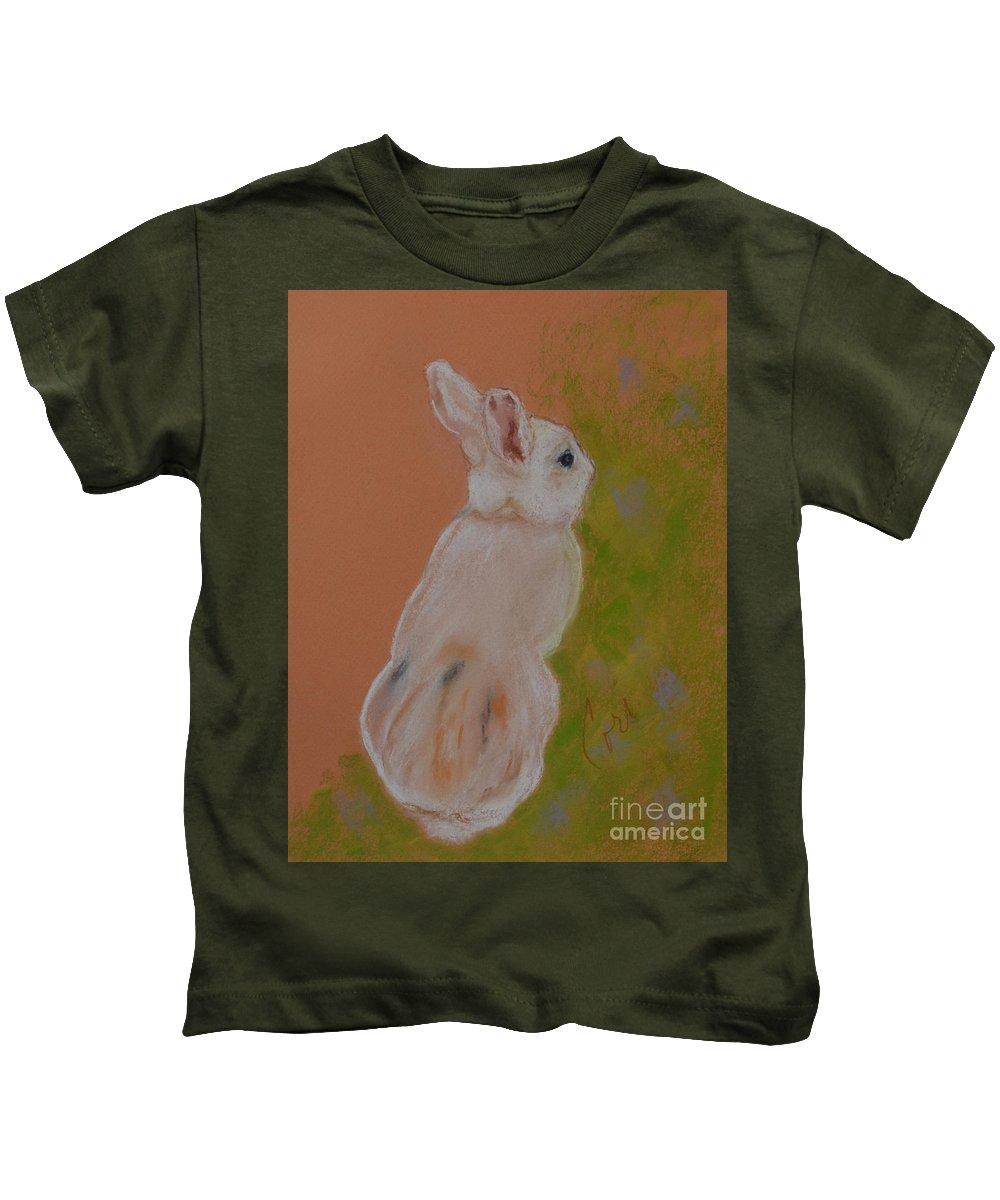 Rabbit Kids T-Shirt featuring the drawing Hop Along by Cori Solomon