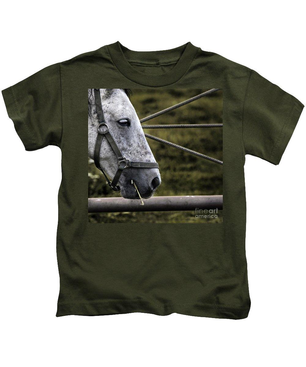 Horse Kids T-Shirt featuring the photograph Horse's Head by Angel Ciesniarska