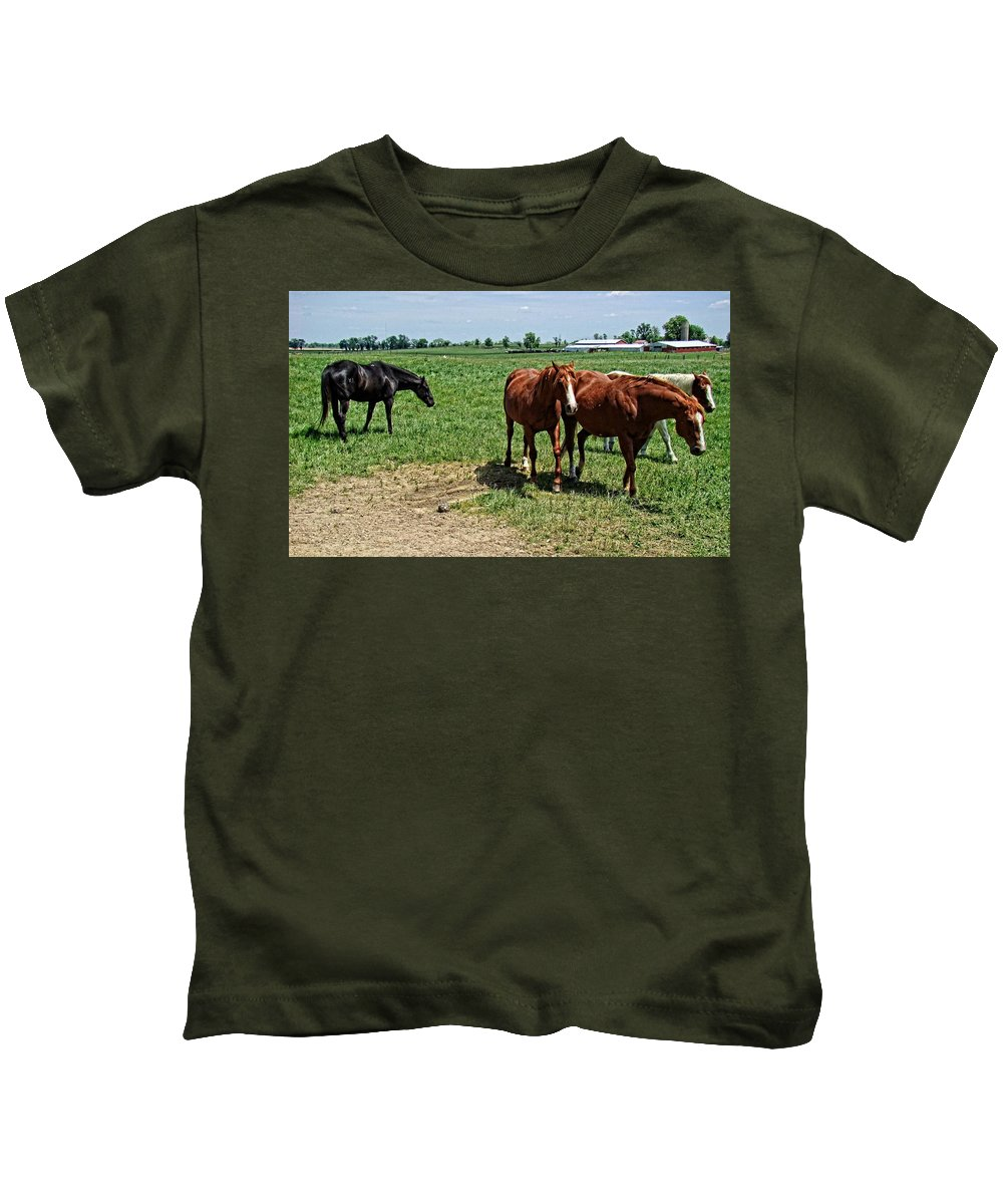 Horses Kids T-Shirt featuring the photograph Horses In The Pasture by Alice Gipson
