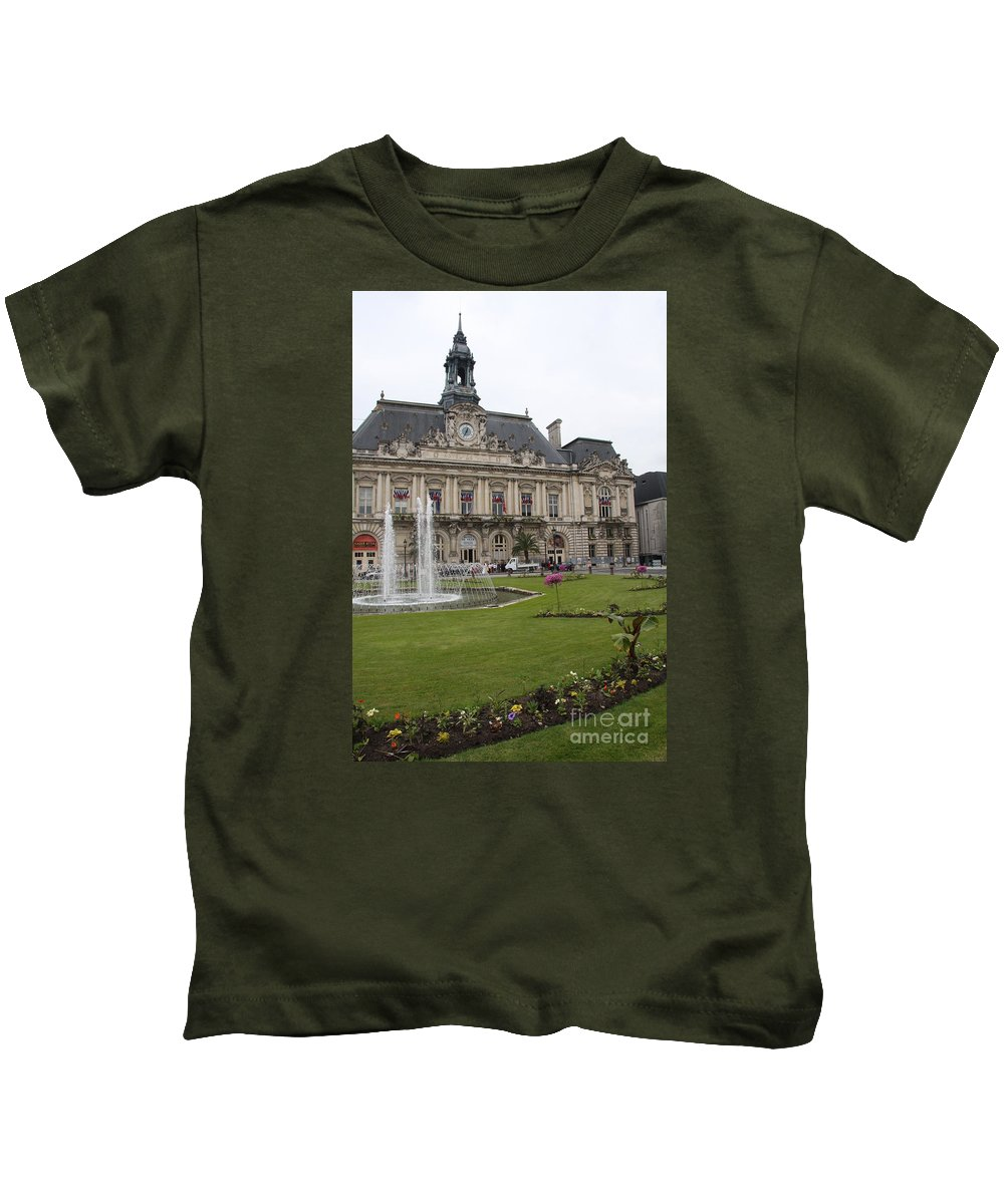 City Hall Kids T-Shirt featuring the photograph Hotel De Ville - Tours by Christiane Schulze Art And Photography