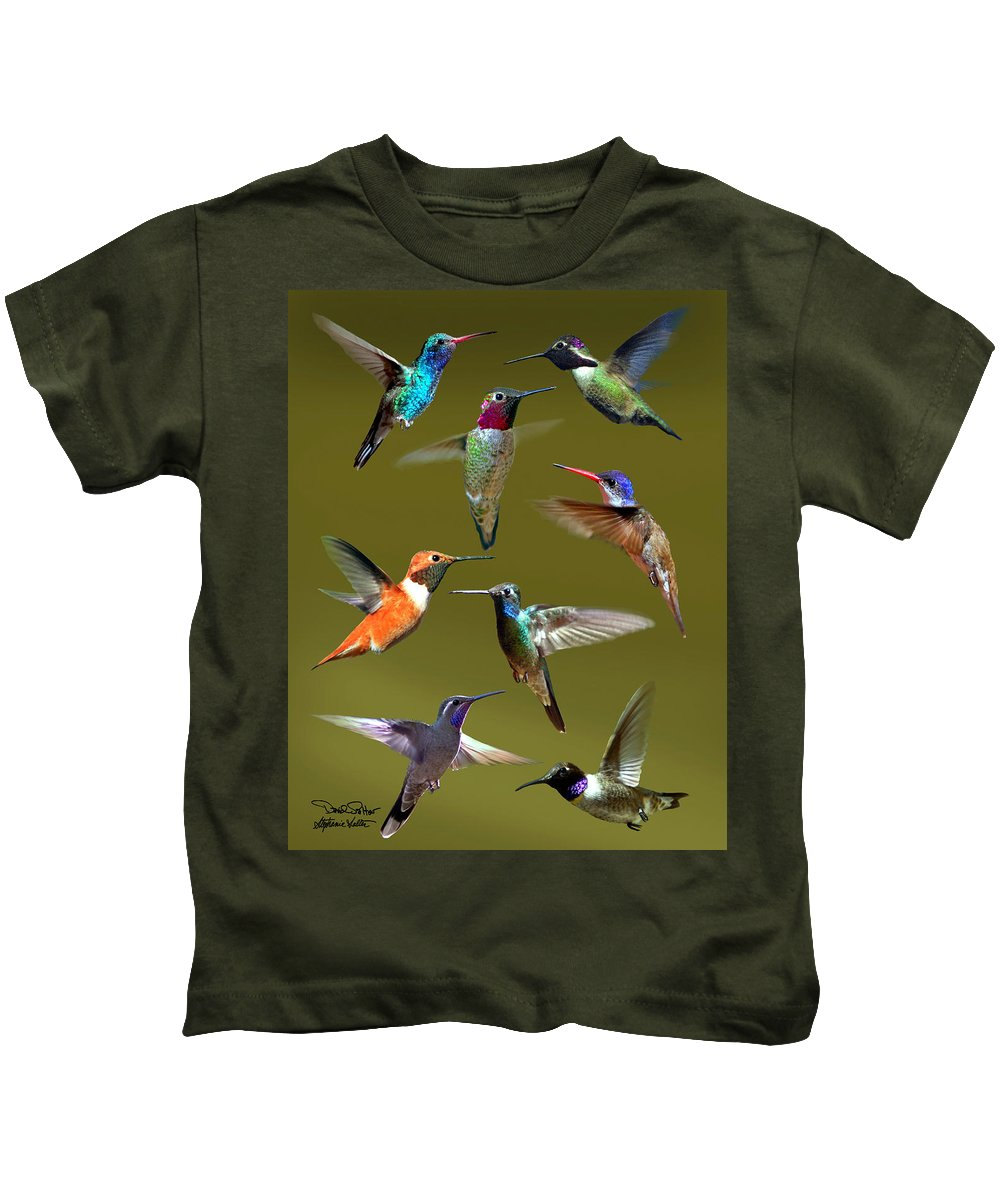 Nature Kids T-Shirt featuring the photograph Hummingbird Collage by David Salter