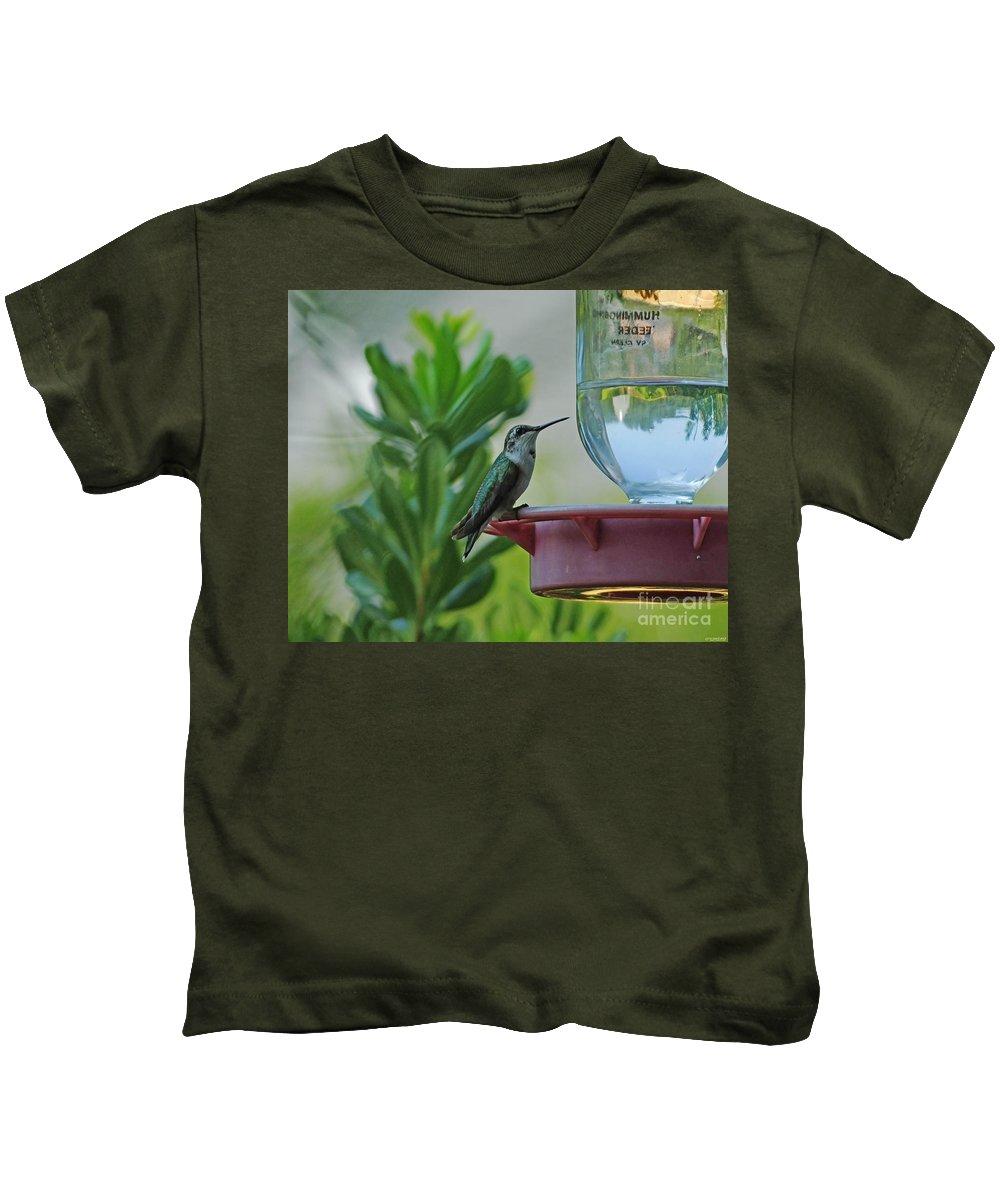 Hummingbird Kids T-Shirt featuring the photograph Hummingbird Still Life by Lizi Beard-Ward