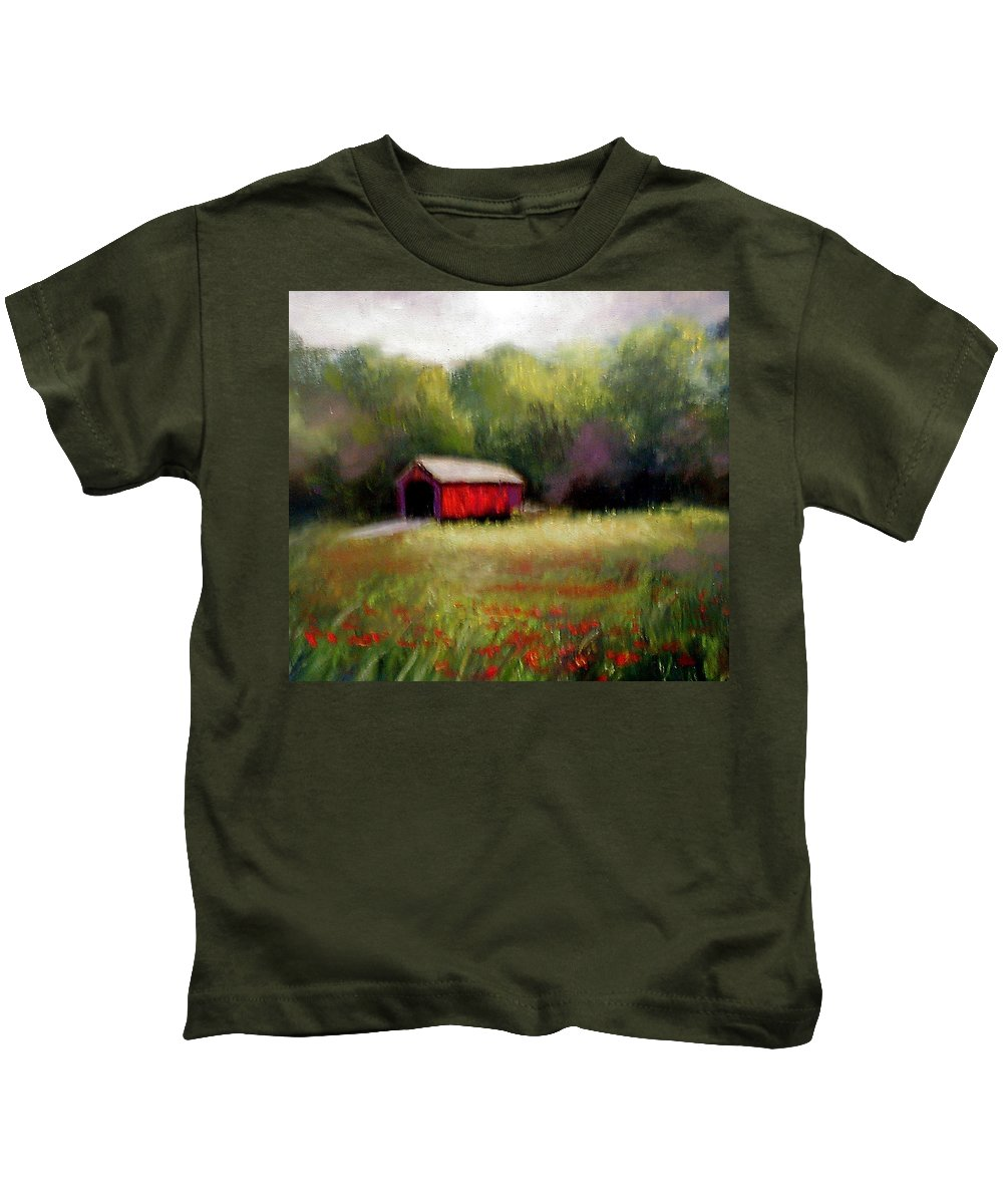 Covered Bridge Kids T-Shirt featuring the painting Hune Bridge by Gail Kirtz