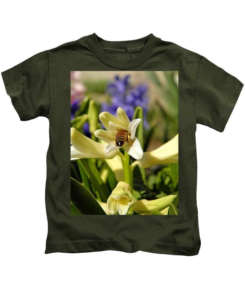 Insect Kids T-Shirt featuring the photograph Hyacinth And Honeybee by Chris Berry
